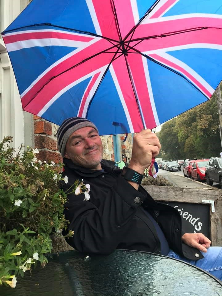 Tony McAlister with Union Jack umbrella