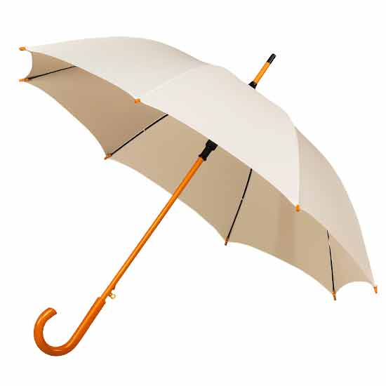 Wedding Woodstick Crook Handle Umbrella - Ivory