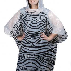 Emergency Rain Poncho - Zebra