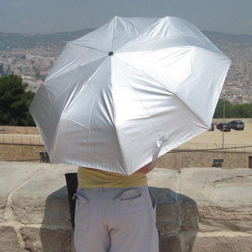 silver UV umbrella modelled 2