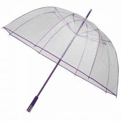 Bargain Umbrellas these clear purple trim golf umbrellas