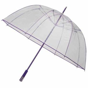 Bargain Umbrellas these clear purple trim golf umbrellas