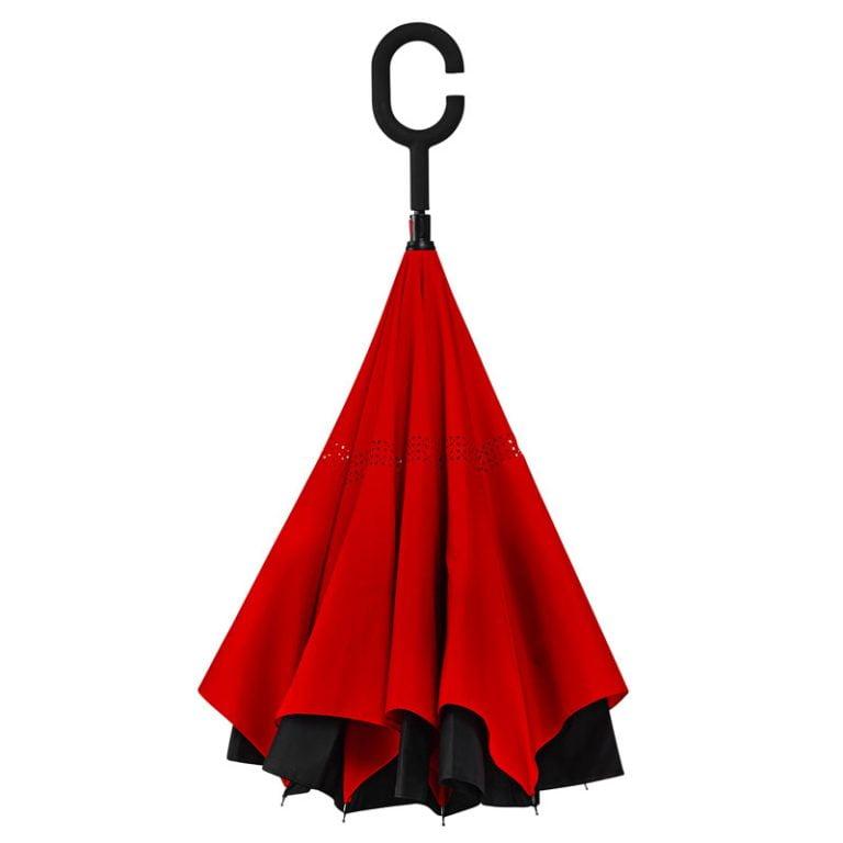 Red reverse Umbrella Closed