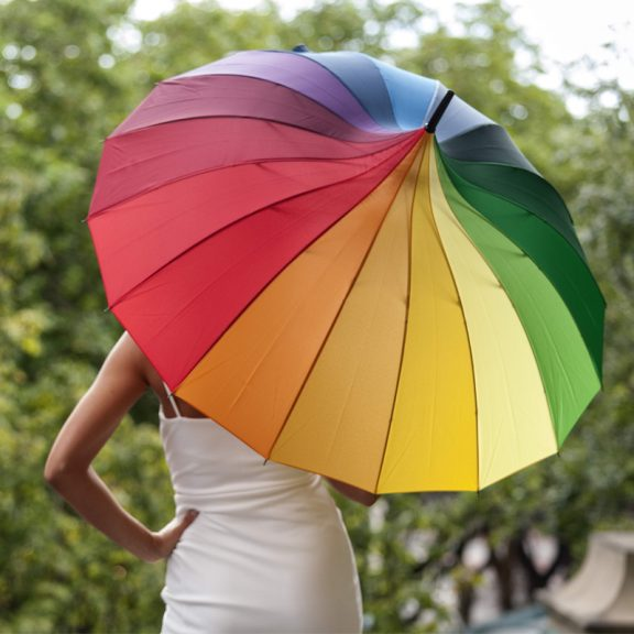 Rainbow Pagoda Umbrella Modeled 2
