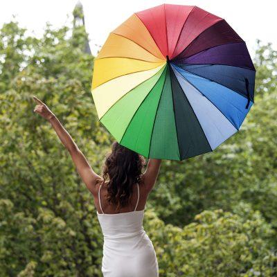 Rainbow Pagoda Umbrella Modeled