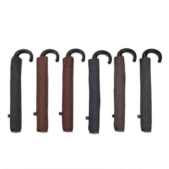 Ezpeleta Large Folding Automatic Wood Crook Handle Umbrellas with sleeves