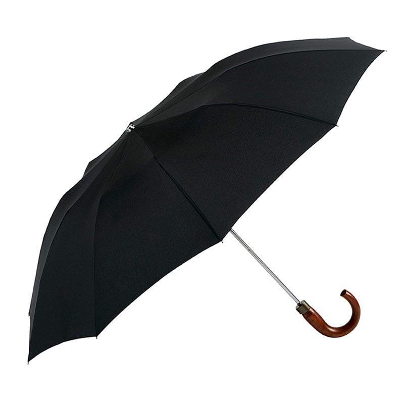 Ezpeleta Large Folding Automatic Black Umbrella with Wood Crook Handle open