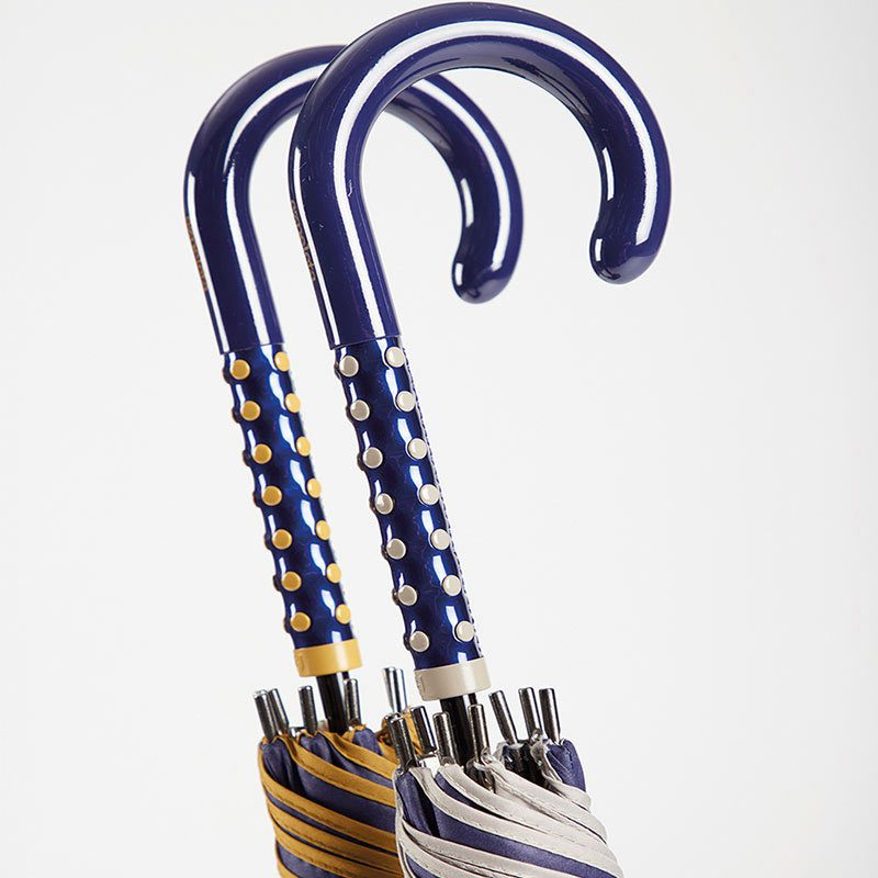 Ezpeleta 2 Tone Striped Double Sided Umbrella handles close up