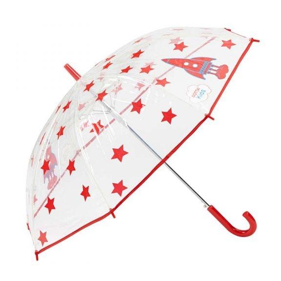 Rockets and Stars Kids Clear Umbrella 3 open