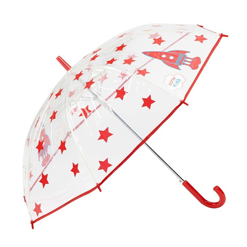 Rockets and Stars Kids Clear Umbrella 3 open