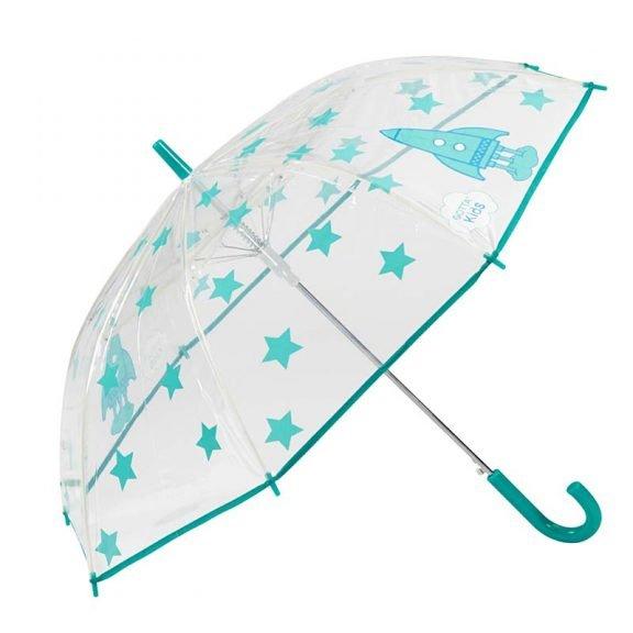 Rockets and Stars Kids Clear Umbrella 2 open
