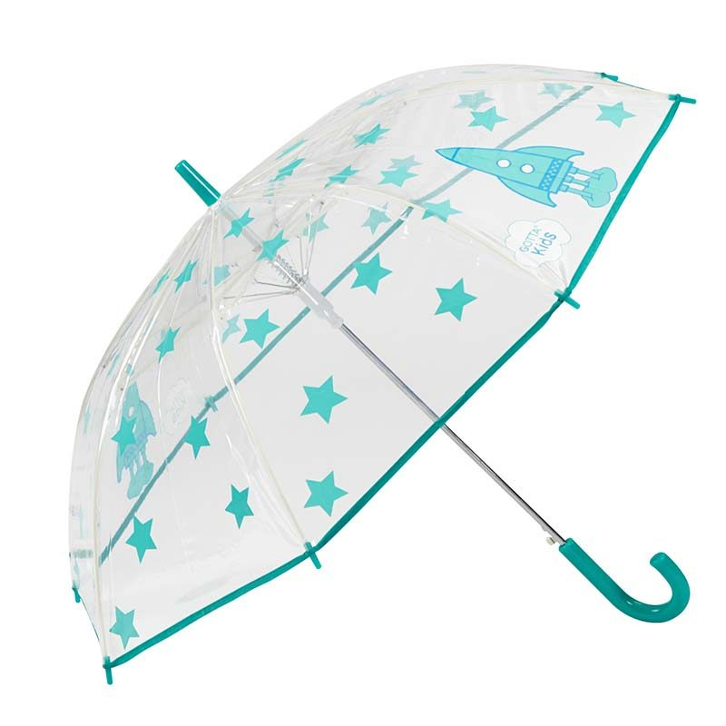 Rockets and Stars Kids Clear Umbrella 2 open