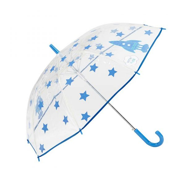 Rockets and Stars Kids Clear Umbrella 1 open
