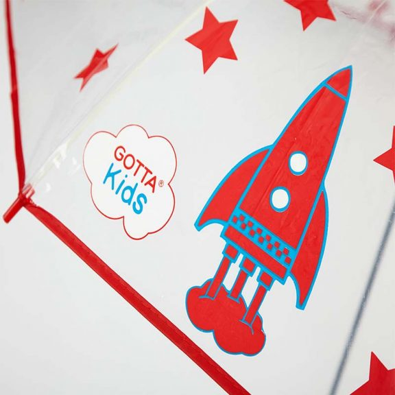 Rockets and Stars Kids Clear Umbrella close up