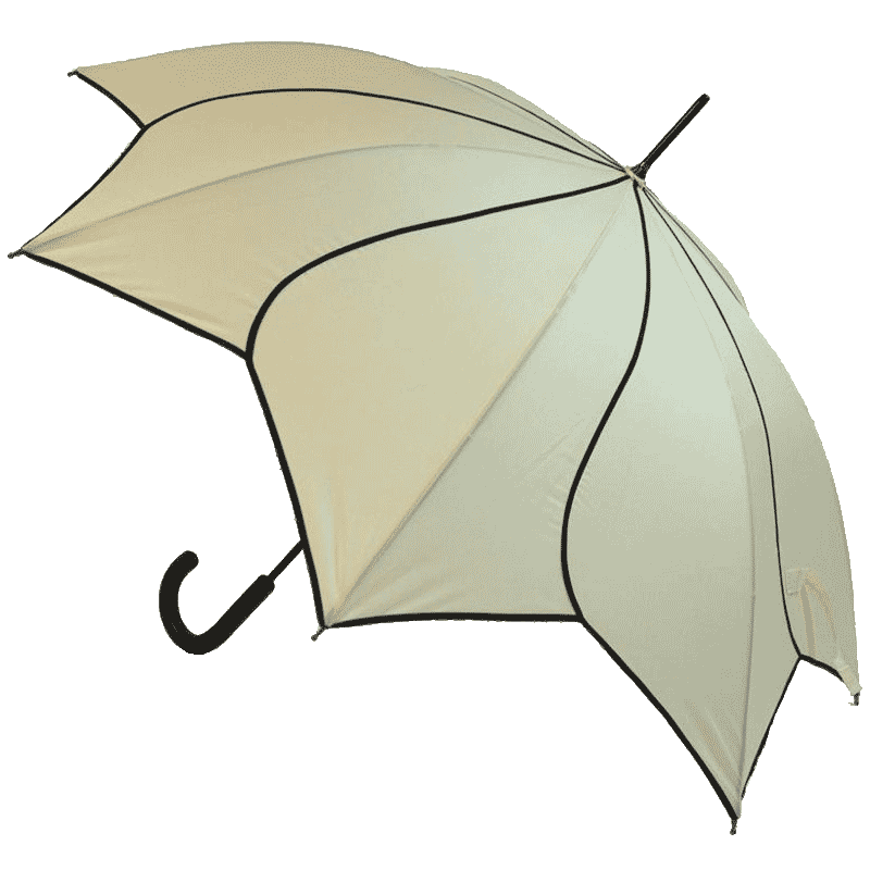 Petal Swirl Beige Flower Umbrella