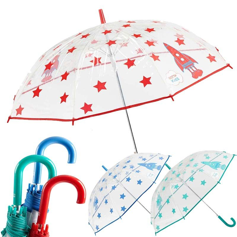 Rockets and starts kids clear umbrella