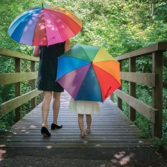 child with rainbow coloured umbrella on bridge