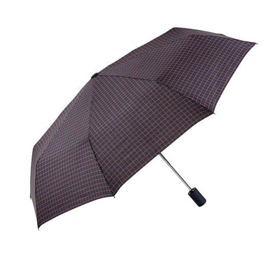 Ezpeleta Mens Grid Patterned Fully Automatic Folding Umbrella