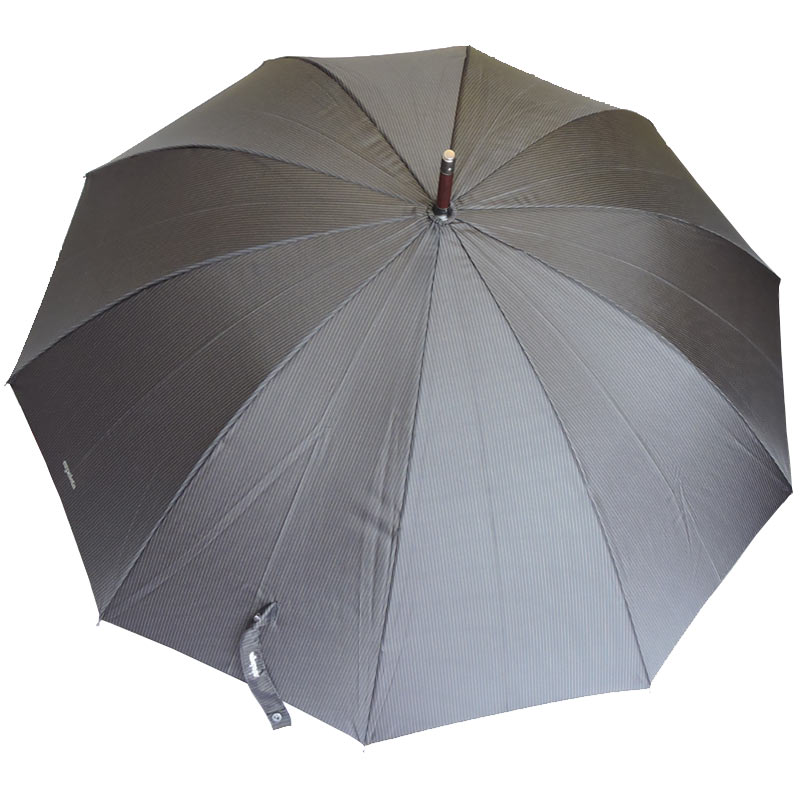 Ezpeleta Mens Pinstripe Wood Stick Umbrella