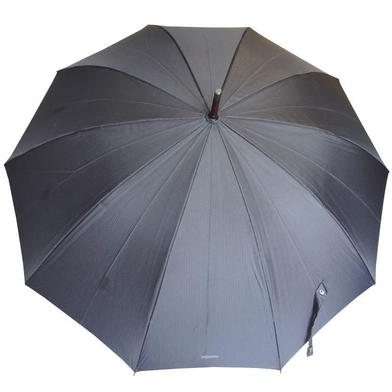 Ezpeleta Mens Pinstripe Wood Stick Umbrella