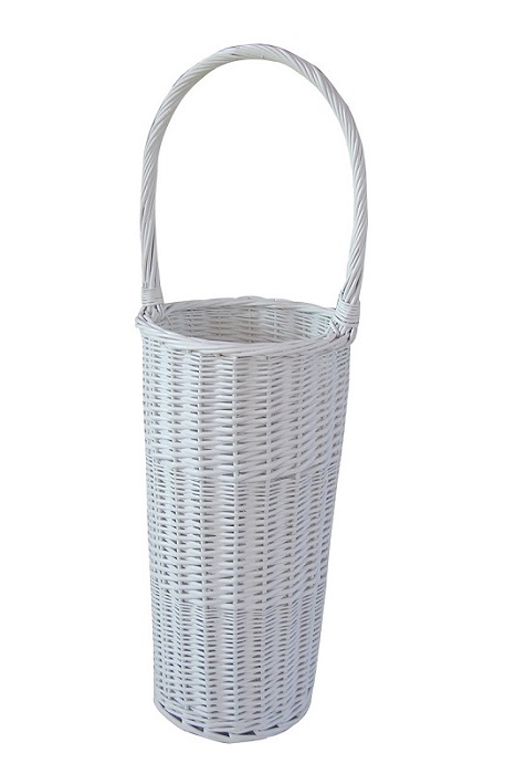 Wicker Umbrella Stand white