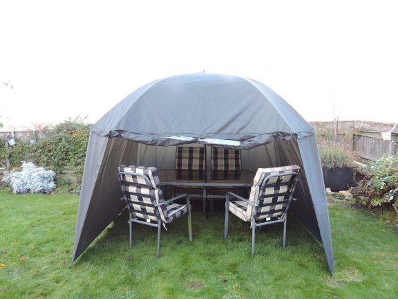 PitchPal Umbrella Tent open front with table and chairs