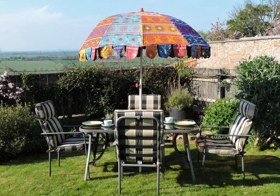 Indian Garden Umbrella in table