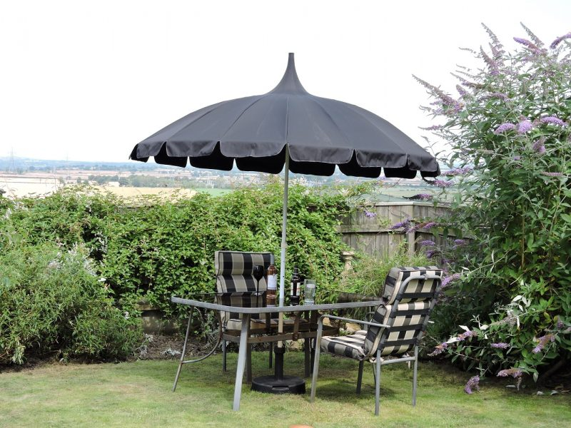 All Black Pagoda Garden Parasol in Debs Garden