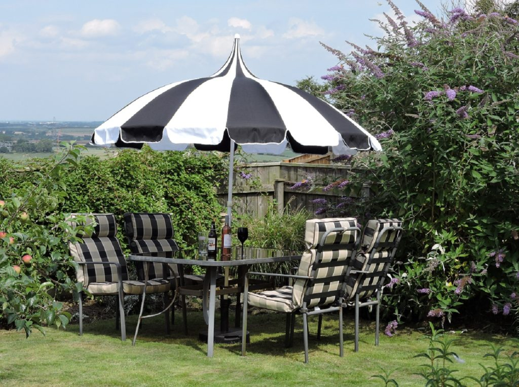 Black and White Pagoda Patio Umbrella - Umbrella Heaven