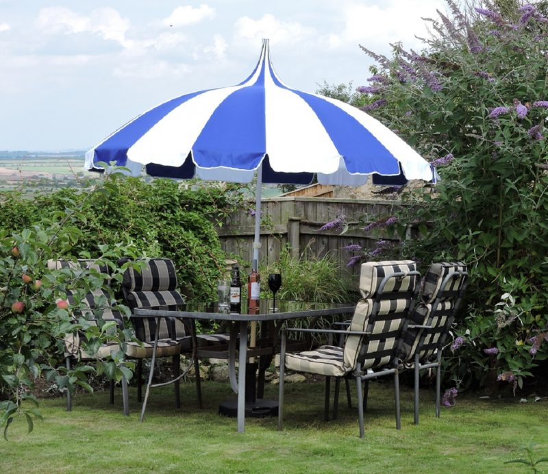 Blue and White Pagoda Patio Umbrella - Umbrella Heaven
