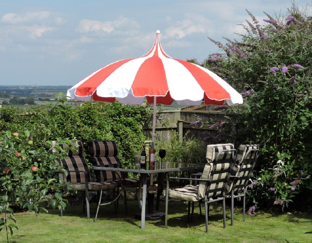 Red and White Pagoda Patio Umbrella - Umbrella Heaven