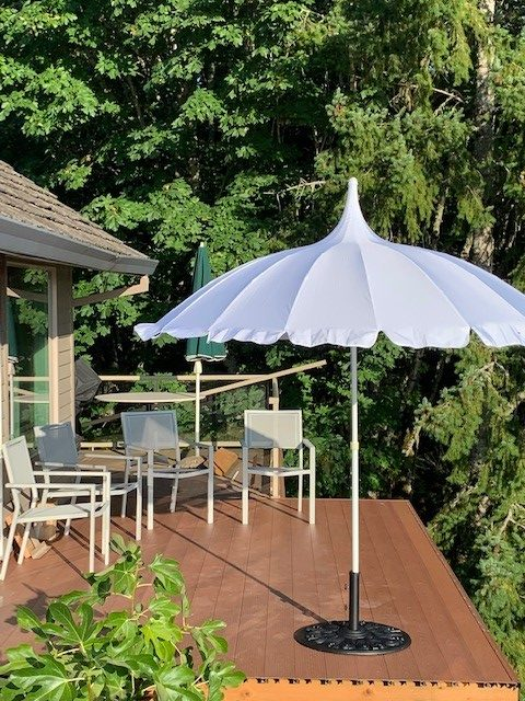 White Pagoda Patio Parasol on veranda