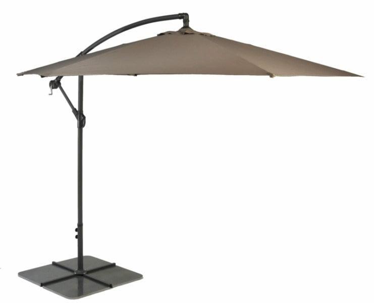 Taupe Cantilever Parasol 3m Patio Umbrella - Aluminium