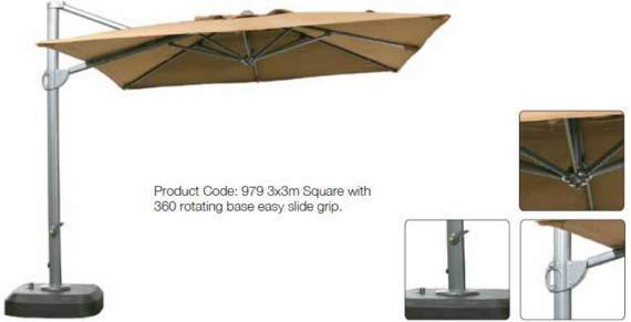 Premium 3m x 3m Square Cantilever Parasol with Rotating Base