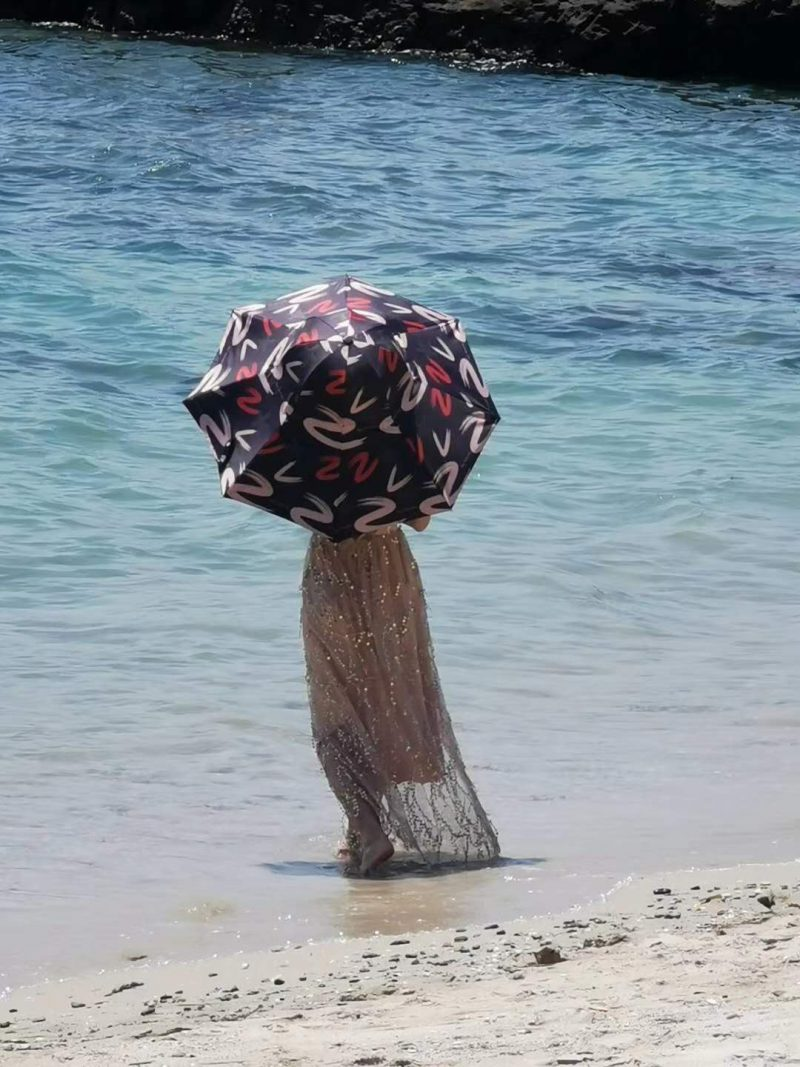 Hat Shaped Umbrella from rear