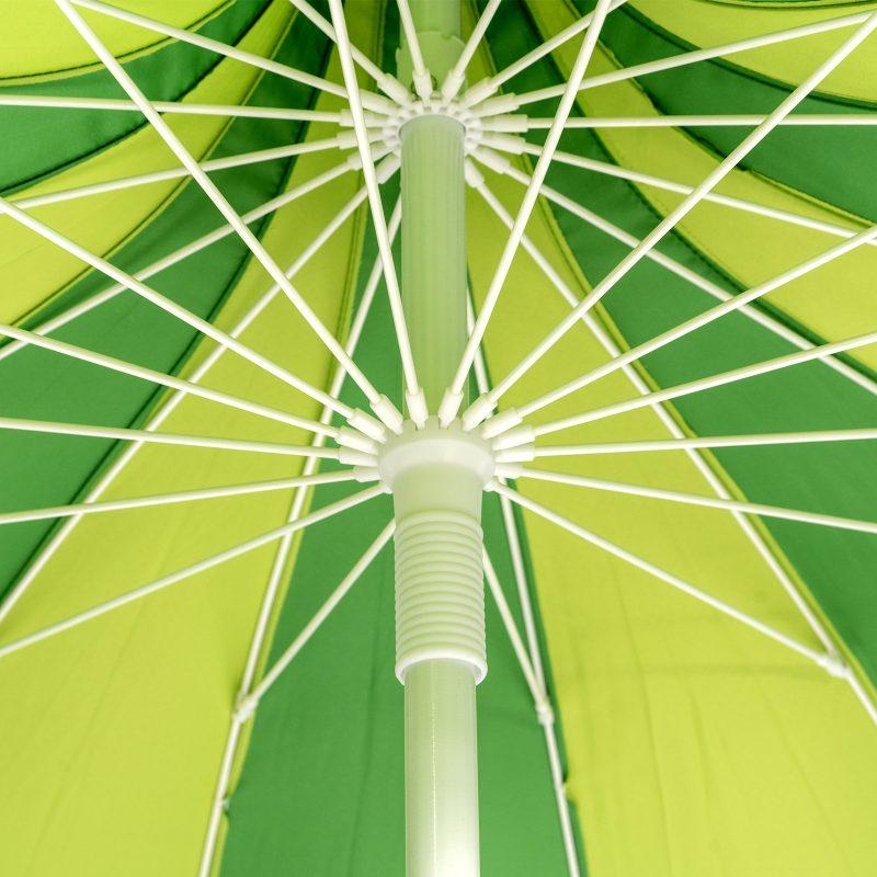 Underside of green and yellow pagoda garden umbrella