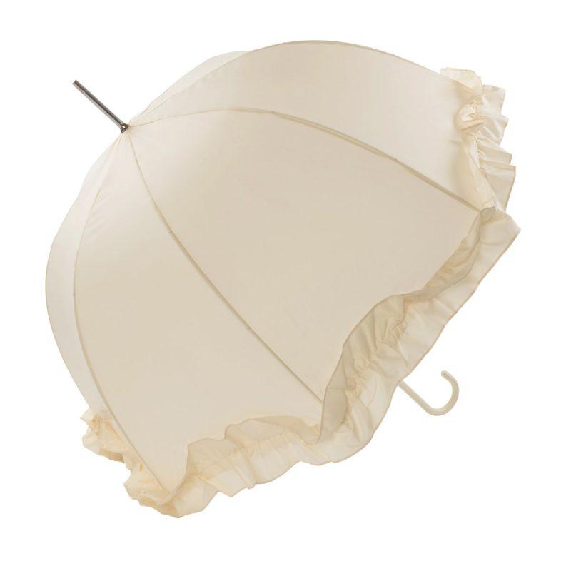 Double Frilled Ivory Umbrella