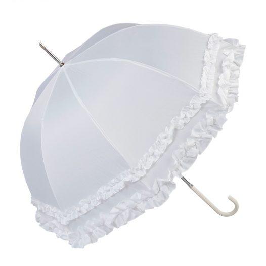 Double Frilled White Umbrella