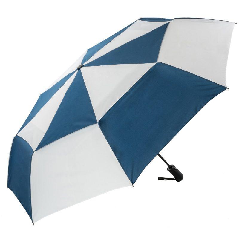 Navy and White Folding Golf Umbrella