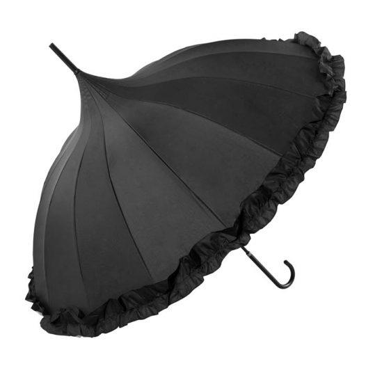 Frilled Black Pagoda Umbrella